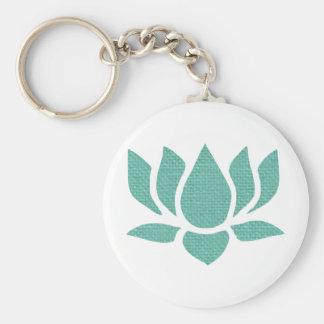lotus flower basic round button keychain