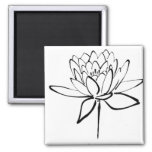 Lotus Flower Black and White Ink Drawing Art 2 Inch Square Magnet