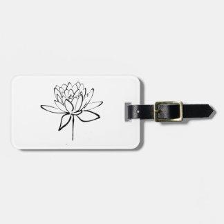 Lotus Flower Black and White Ink Drawing Art Bag Tag