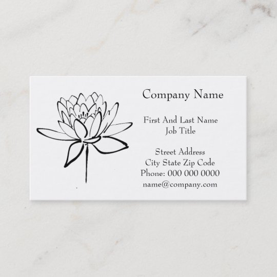Lotus Flower Black And White Ink Drawing Art Business Card Zazzlecom