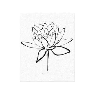 Lotus Flower Black and White Ink Drawing Art Canvas Print