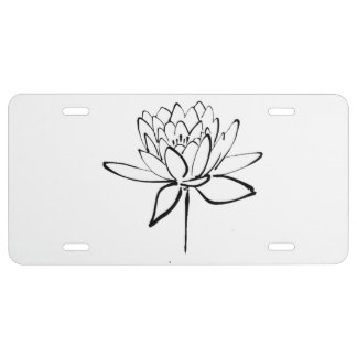 Lotus Flower Black and White Ink Drawing Art License Plate