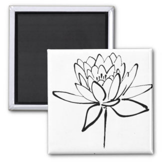 Lotus Flower Black and White Ink Drawing Art Magnet