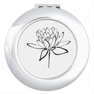 Lotus Flower Black and White Ink Drawing Art Makeup Mirror