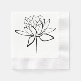 Lotus Flower Black and White Ink Drawing Art Paper Napkins