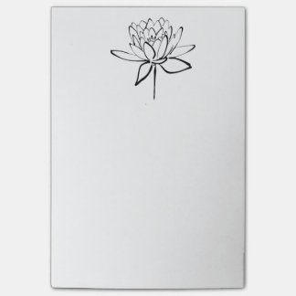 Lotus Flower Black and White Ink Drawing Art Post-it Notes