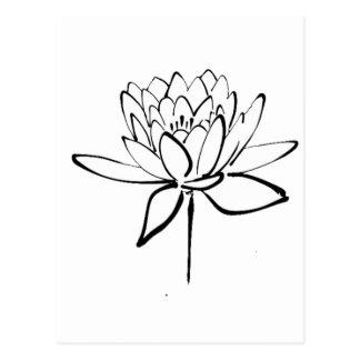 Lotus Flower Black and White Ink Drawing Art Postcard
