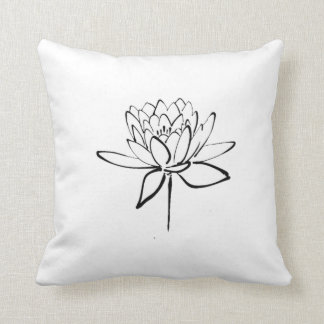 Lotus Flower Black and White Ink Drawing Art Throw Pillow