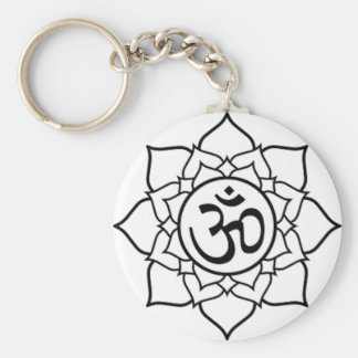 Lotus Flower, Black with White Background Keychain