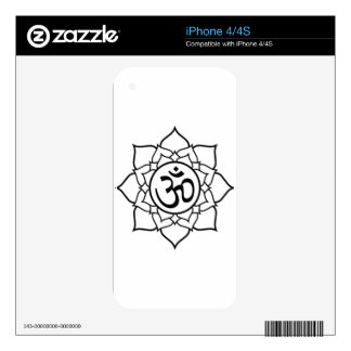 Lotus Flower, Black with White Background Skin For The iPhone 4