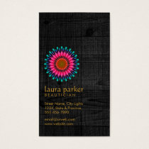 Lotus Flower Black Wood Yoga Meditation HealthSpa Business Card
