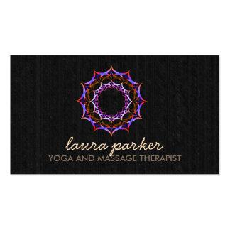 Lotus Flower Black WoodMandala Yoga Health Massage Business Card