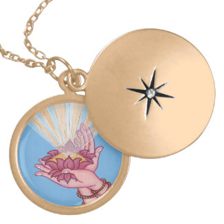 Lotus Flower Blessings - round locket necklace