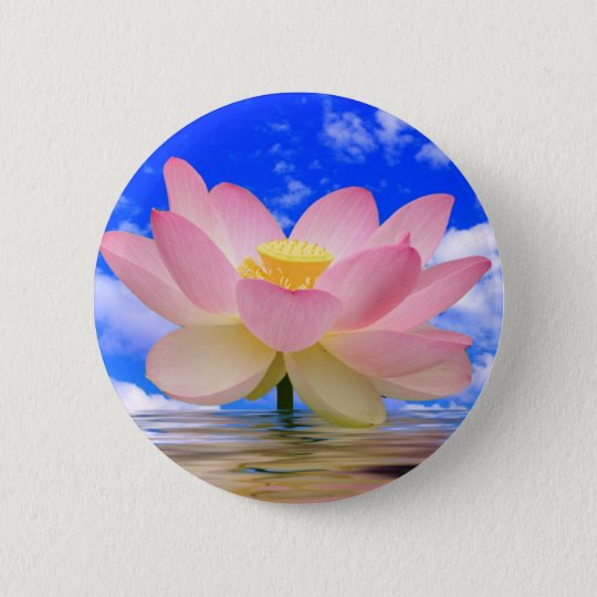 Lotus Flower Born in Water Button