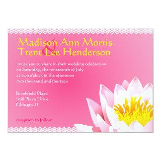 Lotus Flower  & Chevron Wedding Invitation
