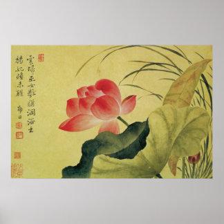Lotus Flower Chinese Painting Fine Art Print