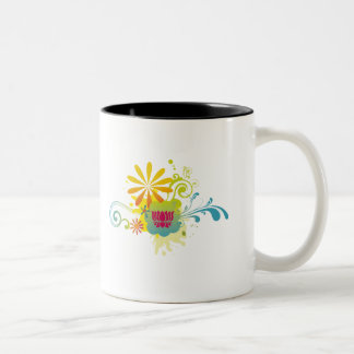 Lotus Flower Color Burst Two-Tone Coffee Mug