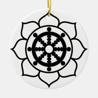 Lotus Flower Dharma Wheel Ceramic Ornament