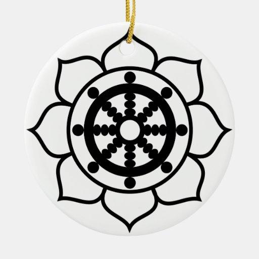Lotus Flower Dharma Wheel Double-Sided Ceramic Round Christmas Ornament