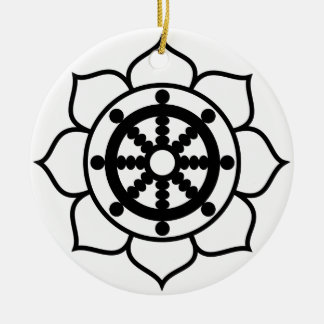 Lotus Flower Dharma Wheel Double-Sided Ceramic Round Christmas Ornament
