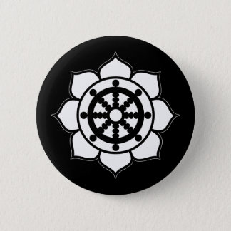 Lotus Flower Dharma Wheel Pinback Button