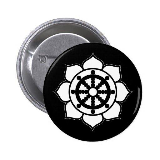 Lotus Flower Dharma Wheel Pinback Buttons