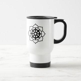 Lotus Flower Dharma Wheel Travel Mug