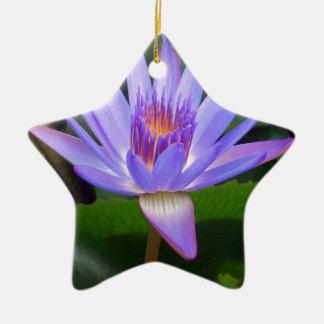 Lotus Flower Double-Sided Star Ceramic Christmas Ornament