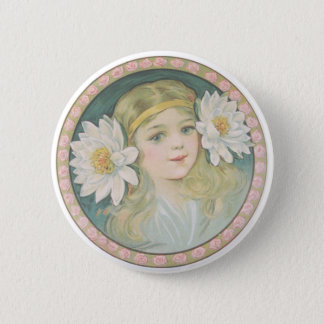 Lotus Flower Girl Portrait Pinback Button