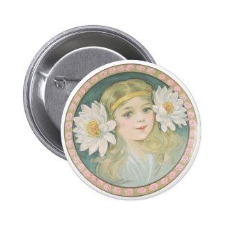 Lotus Flower Girl Portrait Pinback Button