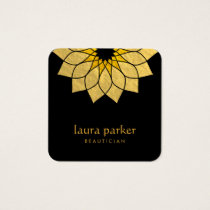 Lotus Flower Gold Logo Healing Yoga Holistic Square Business Card