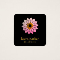 Lotus Flower Gold Pink Logo Healing Yoga Holistic Square Business Card
