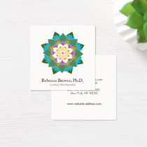 Lotus Flower Holistic Mental Health Healer Square Business Card