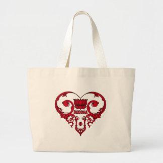 Lotus Flower in Heart Canvas Bags