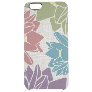 Lotus Flower linen look purple cyan green red Clear iPhone 6 Plus Case