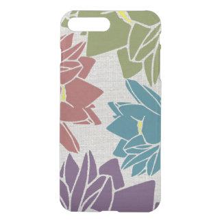 Lotus Flower linen look purple cyan green red iPhone 7 Plus Case