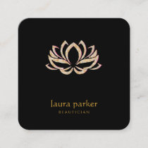 Lotus Flower Logo Healing Therapy Yoga Holistic Square Business Card