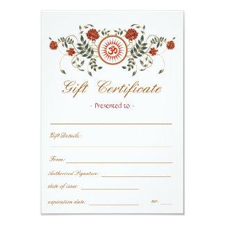 Lotus Flower Logo OM Symbol Gift Certificate Card