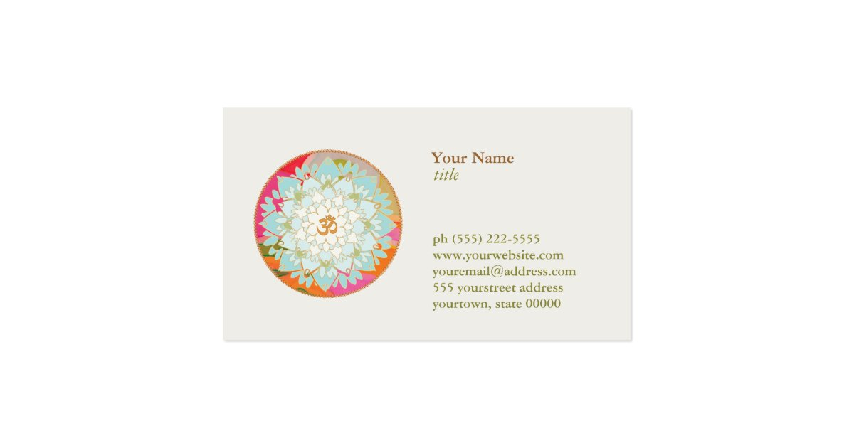 Lotus flower logo om symbol health and wellness business card zazzle for Where can i use my synchrony home design card