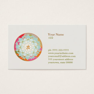 Lotus Flower Logo OM Symbol Health and Wellness Business Card