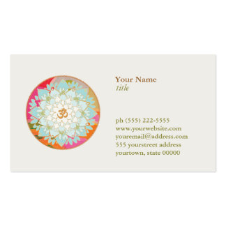 Lotus Flower Logo OM Symbol Health and Wellness Double-Sided Standard Business Cards (Pack Of 100)