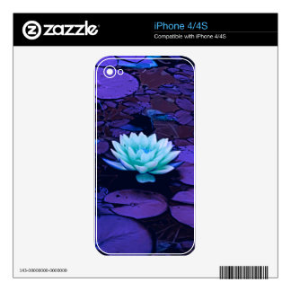 Lotus Flower Magical Purple Blue Turquoise Floral Skin For iPhone 4
