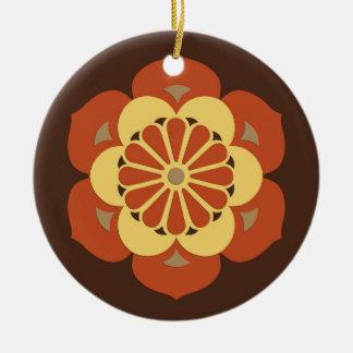Lotus Flower Mandala, Brown, Rust and Yellow Ceramic Ornament