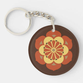 Lotus Flower Mandala, Brown, Rust and Yellow Double-Sided Round Acrylic Keychain