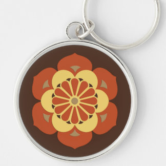 Lotus Flower Mandala, Brown, Rust and Yellow Silver-Colored Round Keychain