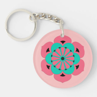 Lotus Flower Mandala, Coral Pink and Turquoise Double-Sided Round Acrylic Keychain