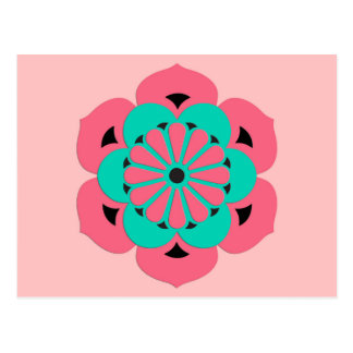 Lotus Flower Mandala, Coral Pink and Turquoise Postcard