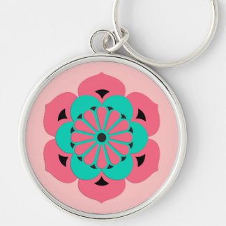 Lotus Flower Mandala, Coral Pink and Turquoise Silver-Colored Round Keychain