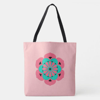 Lotus Flower Mandala, Coral Pink and Turquoise Tote Bag