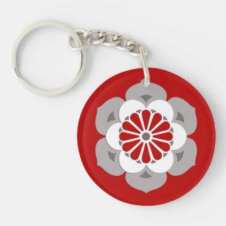 Lotus Flower Mandala, Dark Red, Gray and White Double-Sided Round Acrylic Keychain
